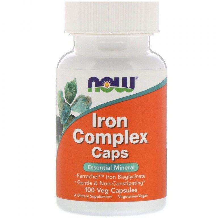 Now Foods, Капсулы с комплексом железа, 100 растительных капсул.