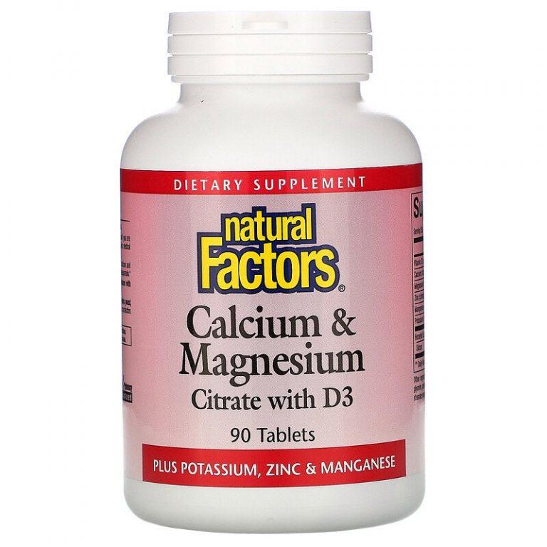 Natural Factors, цитрат кальция и магния с витамином D3, 90 таблеток