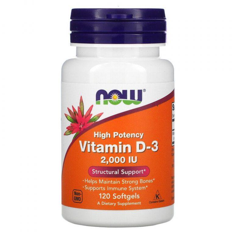 Now Foods, высокоактивный витамин D-3, 50 мкг (2000 МЕ), 120 капсул