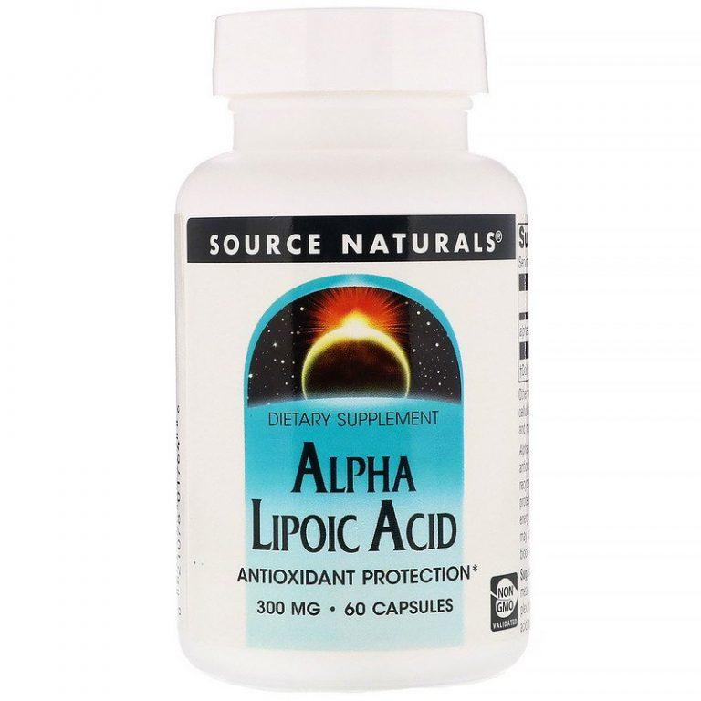 Source Naturals, Альфа-липоевая кислота, 300 мг, 60 капсул.