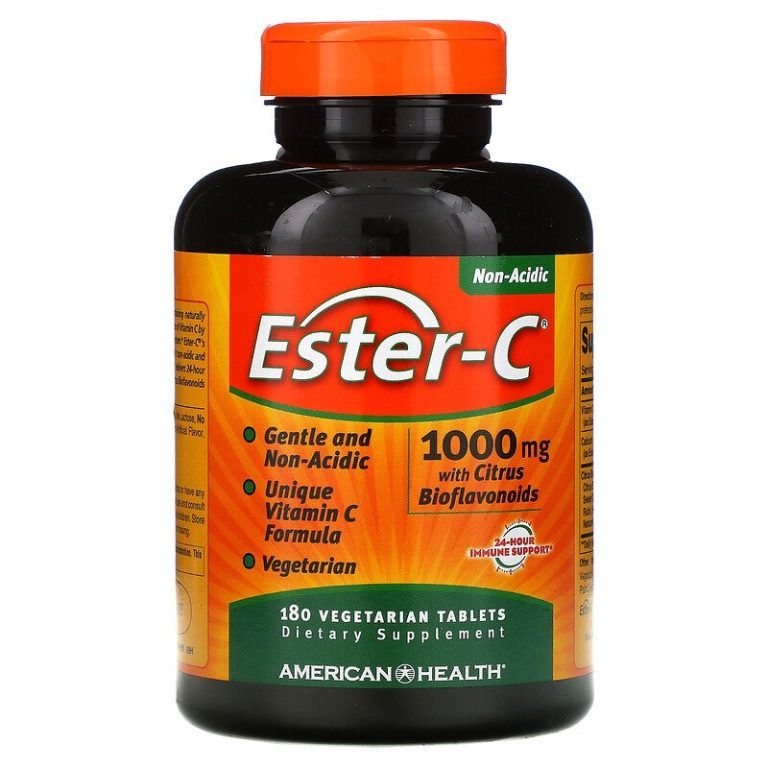 American Health, Ester-C с цитрусовыми биофлавоноидами, 1000 мг, 180 вегетарианских таблеток.