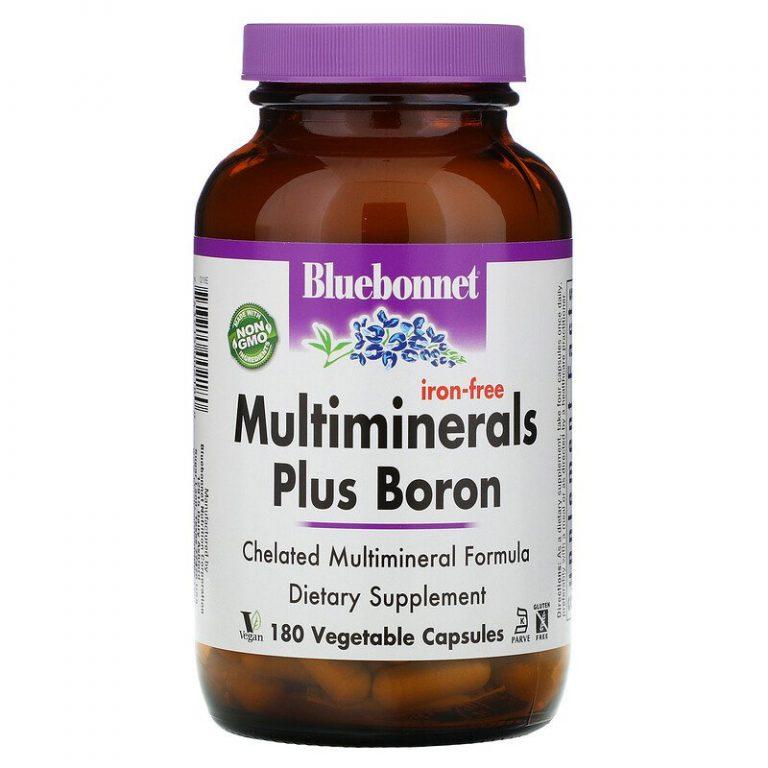 Bluebonnet Nutrition, Мультиминералы с бором, без железа, 180 растительных капсул