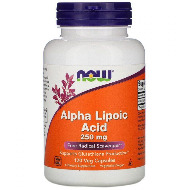 Now Foods, Альфа-липоевая кислота, 250 мг, 120 вегетарианских капсул.