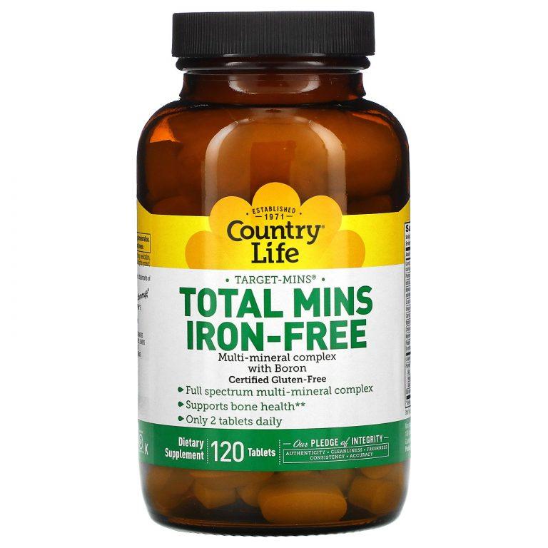 Country Life, Target-Mins, Total Mins, без железа, 120 таблеток