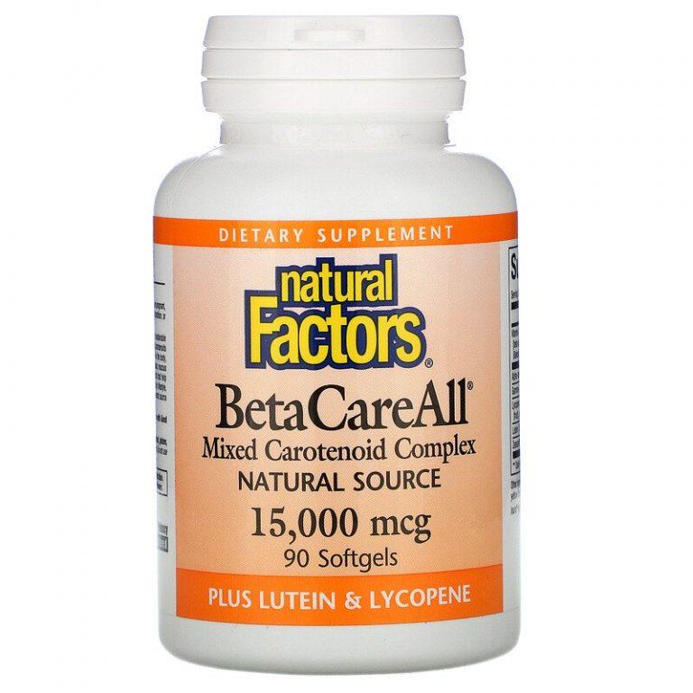 Natural Factors, BetaCareAll, 15 000 мкг, 90 мягких желатиновых капсул.