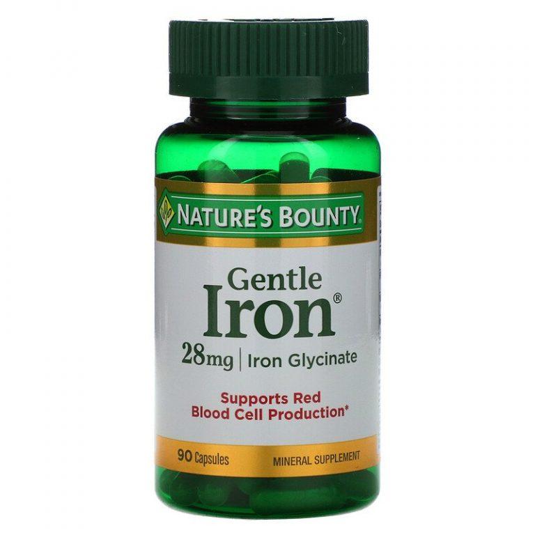 Nature's Bounty, Железо мягкого действия, 28 мг, 90 капсул.