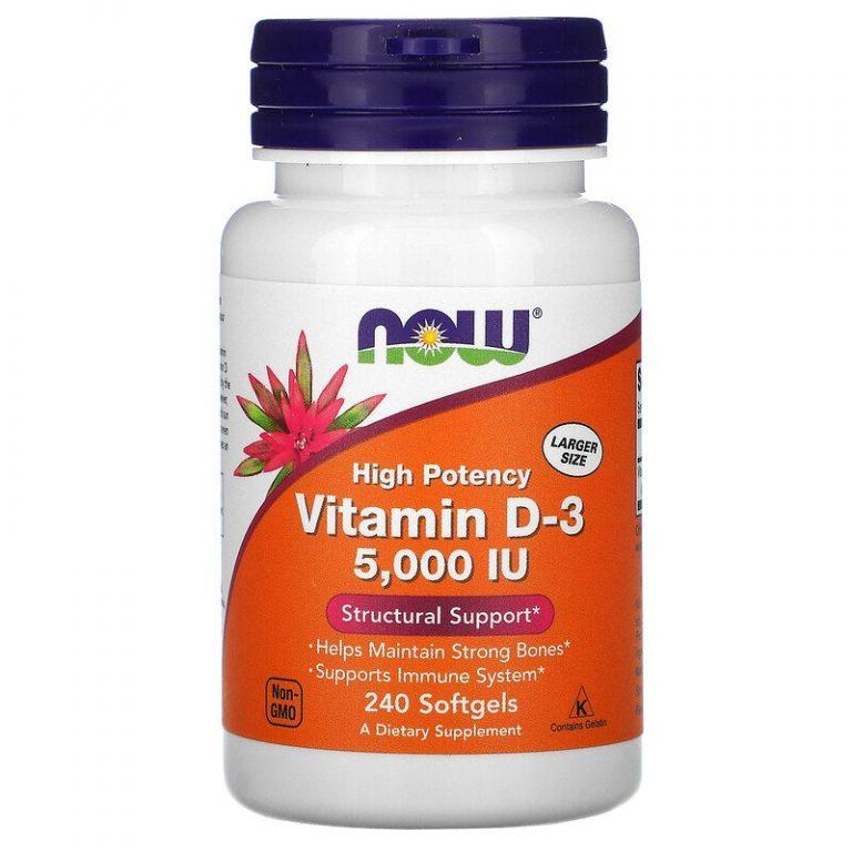 Now Foods, высокоактивный витамин D3, 5000 МЕ, 240 капсул