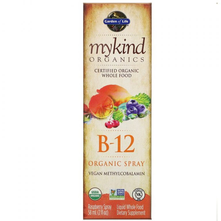 Garden of Life, MyKind Organics, органический спрей с витамином B12, со вкусом малины, 58 мл (2 жидк. унции).