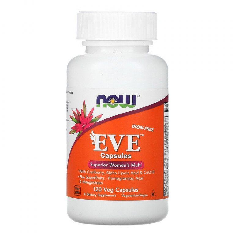 Now Foods, Eve, эффективные мультивитамины для женщин, без железа, 120 растительных капсул