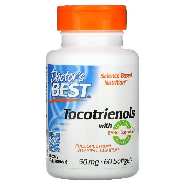 Doctor's Best, Токотриенолы с EVNol SupraBio, 50 мг, 60 мягких таблеток