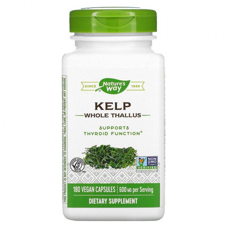 Nature's Way, бурые водоросли, цельный таллом, 600 мг, 180 вегетарианских капсул