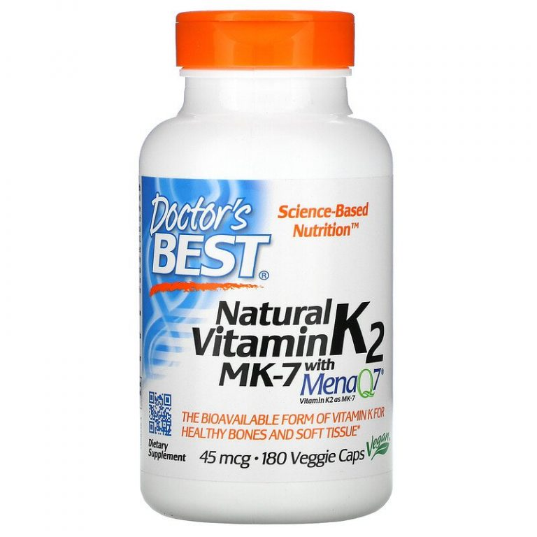 Doctor's Best, натуральный витамин K2 MK-7 с MenaQ7, 45 мкг, 180 вегетарианских капсул.