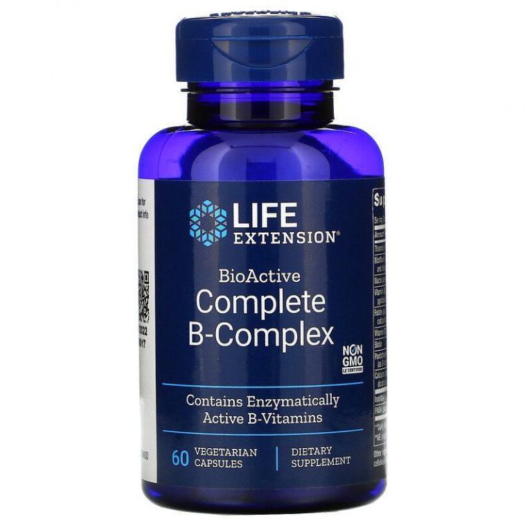 Life Extension, полный биоактивный комплекс витаминов группы B, 60 вегетарианских капсул.