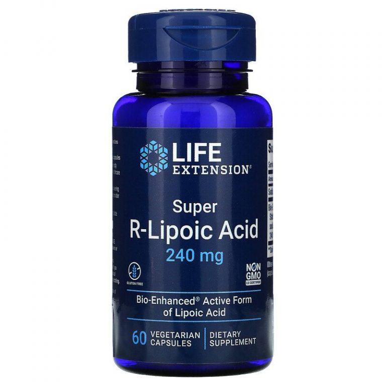 Life Extension, супер R-липоевая кислота, 240 мг, 60 вегетарианских капсул.