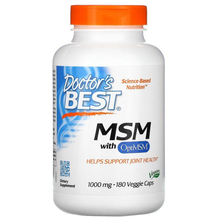 Doctor's Best, МСМ с OptiMSM, 1000 мг, 180 вегетарианских капсул