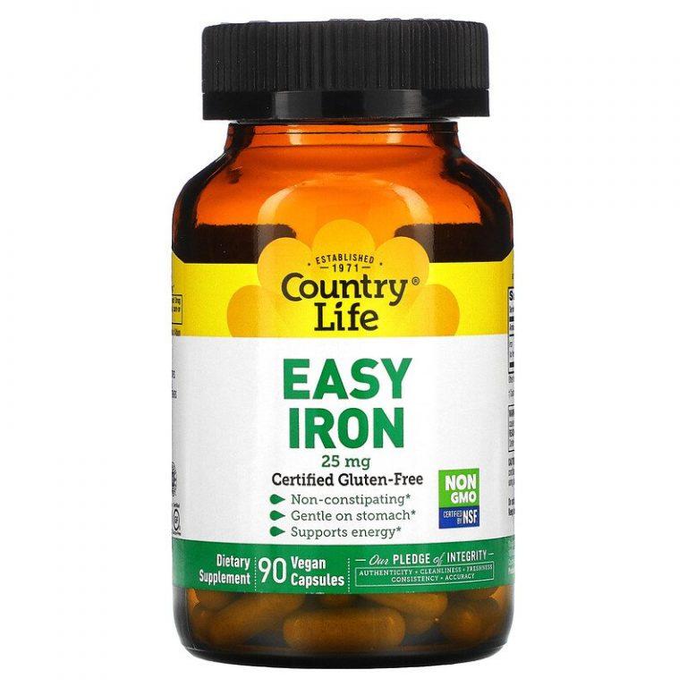 Country Life, Железо в легкоусвояемой форме, 25 мг, 90 растительных капсул.