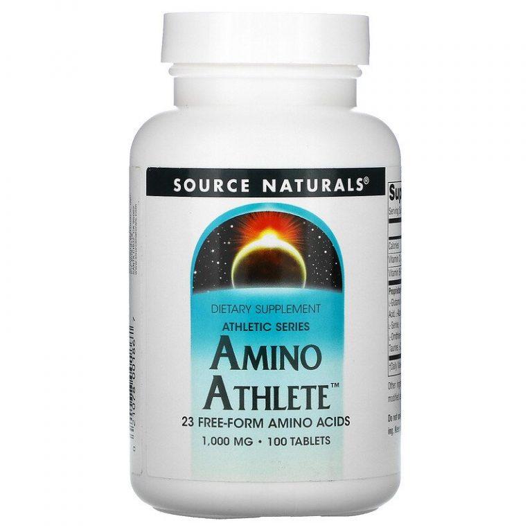 Source Naturals, Athletic Series, Amino Athlete, комплекс аминокислот, 1000 мг, 100 таблеток.