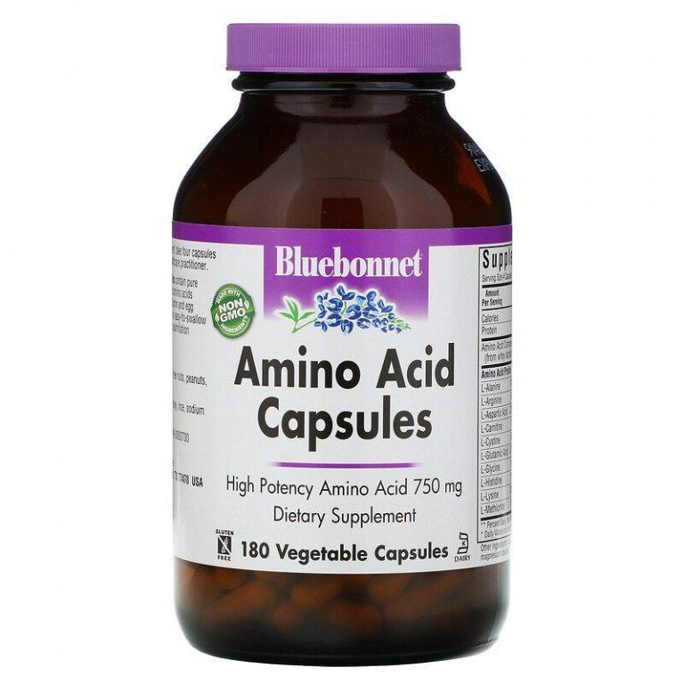 Bluebonnet Nutrition, Капсулы с аминокислотами, 750 мг, 180 растительных капсул.