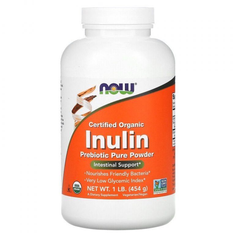Now Foods, сертифицированный органический инулин, порошок из чистого пребиотика, 454 г (1 фунт)