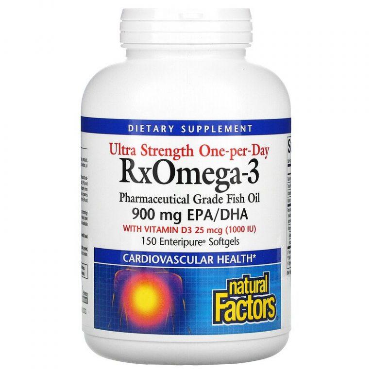 Natural Factors, Ultra Strength, RxOmega-3, с витамином D3, 900 мг ЭПК/ДГК (эйкозапентаеновая/докозагексаеновая кислота), 150 гелевых капсул Enteripure.