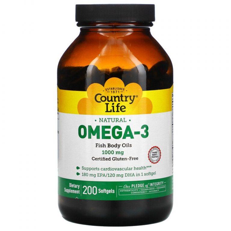 Country Life, Омега-3, 1000 мг, 200 желатиновых капсул.