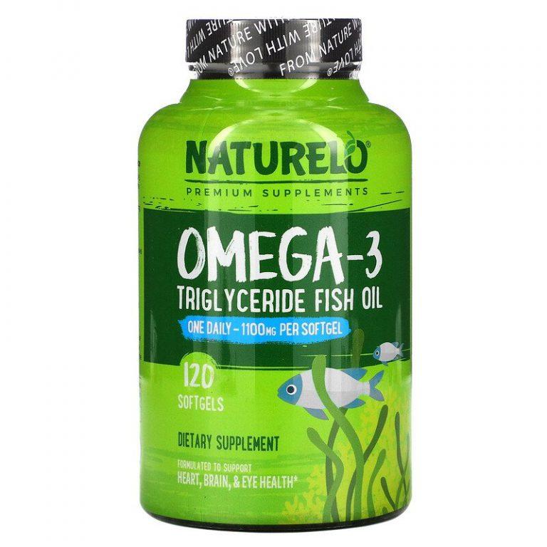 NATURELO, рыбий жир в форме триглицеридов омега-3, 1100 мг, 120 капсул.